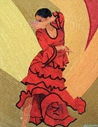 Arte Mosaico Mixed Media Posters - Flamenco Wind Poster by Liza Wheeler