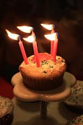 Candle Stand Prints - Flaming Birthday Cupcake Closeup Print by Robert D  Brozek