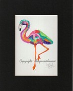 Flamingo Paintings - Flaming Flamingo by Chris Bajon Jones