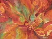 Fiber Art Paintings - Flaming Flower 1 by Deborah Younglao
