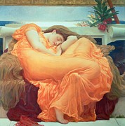 Dreams Painting Posters - Flaming June Poster by Frederic Leighton