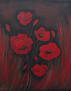 Honour Painting Framed Prints - Flaming Poppies Sold Framed Print by Cynthia Adams