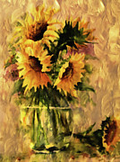 Rustic Mixed Media Framed Prints - Flaming Sunflowers Vintage Expressionism Framed Print by Zeana Romanovna