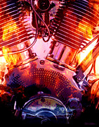 Twin Flame Art - Flaming V-Twin by Thom Hanssen