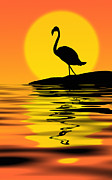Sunset Greeting Cards Mixed Media Posters - Flamingo at sunset Poster by Nataly Rubeo