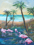 Gail Daley Framed Prints - Flamingo Beach Framed Print by Gail Daley