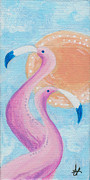 Flamingo Paintings - Flamingo Dancers by Aprille Lipton