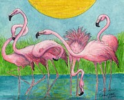 Flamingos Paintings - Flamingo Flock Tropical Bird Art Cathy Peek by Cathy Peek