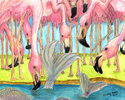 Flamingos Paintings - Flamingo Mermaid Surprise Whimsical Fantasy Art by Cathy Peek
