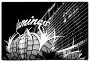 Las Vegas Artist Prints - Flamingo Night View Print by John Rizzuto