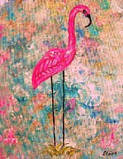 Gold Framed Prints - Flamingo on pink and Blue Framed Print by Eloise Schneider