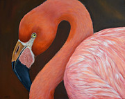 Flamingos Paintings - Flamingo Pretty in Pink by Nancy Lauby