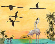 Flamingos Paintings - Flamingo Sunset Silhouette Tropical Birds Art by Cathy Peek