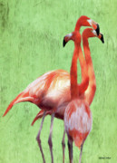 Flock Prints - Flamingo Twist Print by Jeff Kolker