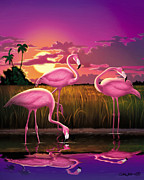 Exotic Bird Prints - Flamingoes Flamingos Tropical Sunset landscape florida everglades large hot pink purple print Print by Walt Curlee