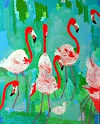 Contemporary Reliefs Posters - Flamingos 1 Poster by Vicky Tarcau