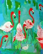 Flamingos 1 Print by Vicky Tarcau
