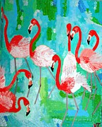 Birds Reliefs Prints - Flamingos 2 Print by Vicky Tarcau