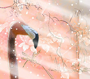 Shannon Story Posters - Flamingos in Snow Poster by Shannon Story