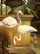 Connected Metal Prints - Flamingos Metal Print by Lizzie Riches