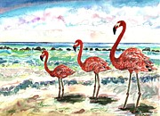 Flamingos Paintings - Flamingos on The Beach by Michelle LeBoeuf