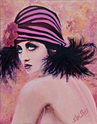 Looking Over Shoulder Posters - Flapper Girl #1 Poster by Shirl Theis