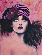 Bare Shoulder Metal Prints - Flapper Girl #2 Metal Print by Shirl Theis