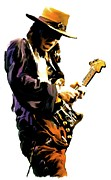 Blues Drawings Posters - Flash Point     Stevie Ray Vaughan Poster by Iconic Images Art Gallery David Pucciarelli