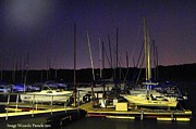 Boats At Dock Framed Prints - FLASHLIGHTING technique Twilight Marina Docked SailBoats  Framed Print by PAMELA Smale Williams
