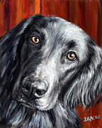 Dog Art Paintings - Flat-coated Retriever Portrait on Red by Dottie Dracos