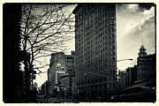 Filmnoir Posters - Flat Iron Building Fifth Avenue and Broadway Poster by Sabine Jacobs