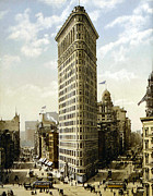 Old Buildings Digital Art Framed Prints - Flat Iron Building New York 1903 Framed Print by Unknown