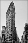 Broadway Digital Art Metal Prints - Flat Iron in Black and White Metal Print by Bill Cannon
