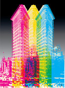 New York Digital Art Metal Prints - Flat Iron POP Art Metal Print by Gary Grayson