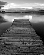 Dock Posters - Flathead Lake Dock Sunset - Black and White Poster by Brian Stamm