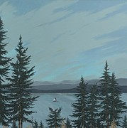 Sailboat Painting Prints - Flathead Sailboat Print by John Wyckoff