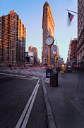 Blue Skies Prints - Flatiron area in motion Print by John Farnan