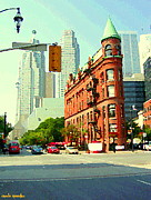 Crosswalks Prints - Flatiron Building And Skyline Historic Toronto Landmarks Canadian Paintings Cityscenes C Spandau Print by Carole Spandau