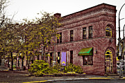 Brick Building Art - Flatiron Building in Pullman Washington by David Patterson