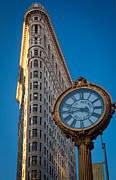 Flatiron Framed Prints - Flatiron Clock Framed Print by Inge Johnsson