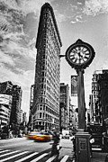 Clock Photo Framed Prints - Flatiron Rush Framed Print by Andrew Paranavitana