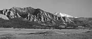 Colorado Front Range Photos - Flatirons and Snow Covered Longs Peak Panorama BW by James Bo Insogna