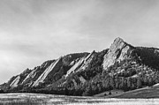 Snow On Field Posters - Flatirons B W Poster by Aaron Spong