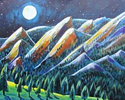 Front Range Painting Prints - Flatirons in the Moonlight Print by Harriet Peck Taylor