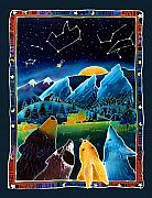 Coyote Art Paintings - Flatirons Stargazing by Harriet Peck Taylor