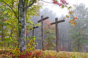 The Wooden Cross Art - Flax Creek in the Fog by Debra and Dave Vanderlaan