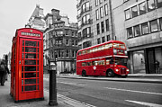 Double Decker Posters - Fleet street London Poster by Delphimages Photo Creations