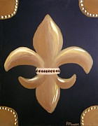 Fleur De Lis Art - Fleur De Lis Black and Gold by Robbi Flowers