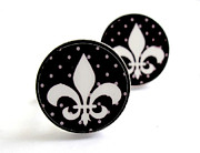 Royal Jewelry - FLEUR DE LIS  black and white with grey dots Cufflinks by Rony Bank