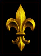 Fleur De Lis Posters - Fleur de Lis in Black and Gold Poster by Carol Groenen